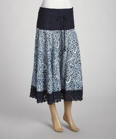 Look at this #zulilyfind! Navy & White Batik Peasant Skirt by Mix Nouveau #zulilyfinds
