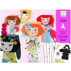 Kokeshi dolls paper toys by Djeco - children's craft kits & origami - Djeco craft kits Paper Crafts Origami, Paper Crafting, Crafts For Kids, Arts And Crafts, Musical Toys, Japanese Paper, Kokeshi Dolls, Science Experiments Kids, Creative Play
