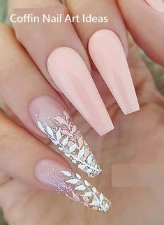 Sweet pastel salmon pink with glitter leaves on long coffin nails for 2019 . - NailiDeasTrends sweet pastel salmon pink with glitter leaves on long coffin nails for 2019 . Light Pink Nail Designs, Light Pink Nails, Nail Art Designs, Nail Pink, Pastel Pink Nails, Fancy Nails Designs, Fancy Nail Art, Rose Pastel, Awesome Nail Designs
