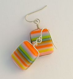 Sherbert Striped Fused Glass Earrings, Orange, Green and Yellow Fused Glass Earrings. $28.00, via Etsy.