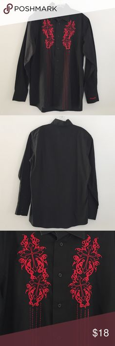 """Dragonfly Mens Embroidered Button Shirt L/Black & Red  Excellent preowned condition button front with long sleeves, embroidered on front pit/pit: 23"""", shoulder/hem: 29"""" Please compare measurements to yourself/pieces you currently own Thanks for looking at my closet T306 Dragonfly Shirts Casual Button Down Shirts"""