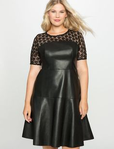 Studio Lace and Leather Dress from eloquii.com