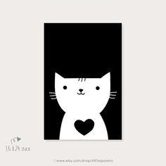 Arte imprimible gato corazón sala niños habitación pared Art