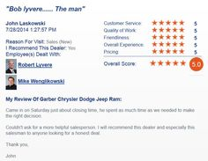 Five Star Review on DealerRater