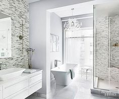 These show-stopping bathroom designs offer remodeling tips and decorating ideas for any budget. If you're renovating a bathroom, see how to take high-end inspiration and turn it into real-life solutions.