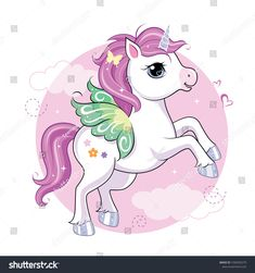 Cute little unicorn character with butterfly wings over pink round background. Unicorn Images, Unicorn Pictures, Unicorn Drawing, Unicorn Art, My Little Unicorn, Little Pony, Unicornios Wallpaper, Unicorn Tattoos, Unicorn Ornaments