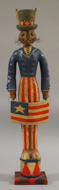 "P. Schifferl Folk Art Carved and Painted Wood ""Uncle Sam"" Rabbit Figure, signed and dated ""5/20/87,"" ht. 27 1/4 in. by amie"