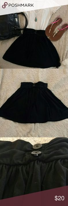 Urban Outfitters Black Cotton Swing Skirt Elastic band. Two decorative buttons on front. Gathered at waistband. Lux Skirts