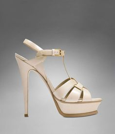 YSL TRIBUTE HIGH HEEL SANDAL IN BEIGE TEXTURED PATENT LEATHER