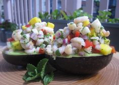 Bay Shrimp, Mango, and Crunchy Vegetable Salad in Avocado Halves ( try diced carrot in place of bell pepper)