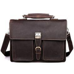 """Men's handmade vintage leather briefcase / leather messenger bag / 15"""" macbook 14"""" 15"""" laptop bag - n47-2"""