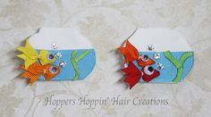 Fish fishbowl Ribbon Sculpture Hair Clip. You choose fish color #Handmade