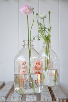 old american milk bottle - homeware Old Milk Bottles, Vintage Milk Bottles, Bottles And Jars, Glass Bottles, Mason Jars, Bottle Vase, My Flower, Flower Power, Milk Jug
