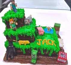 Best Ideas For Birthday Cake Boys Minecraft Awesome Bolo Fake Minecraft, Pastel Minecraft, Easy Minecraft Cake, Minecraft Birthday Cake, Minecraft Party, Cool Birthday Cakes, Birthday Fun, Birthday Parties, Minecraft Ideas