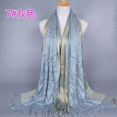 Plain fashoin printe glitter tassels cotton lurex plaid stripe scarf long hijab muslim