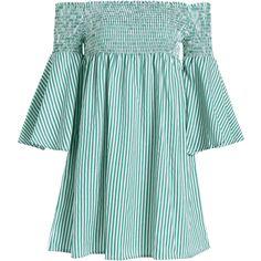 Smocked Striped Off Shoulder Mini Dress ($20) ❤ liked on Polyvore featuring dresses, vestidos, short striped dress, striped dress, blue mini dress, off the shoulder mini dress and short dresses