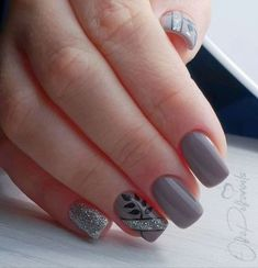 51 trendy ideas for nails grey french colour You are in the right place about nail colors classy Her Manicure Colors, Gel Manicure, Nail Colors, Grey Nail Designs, Best Nail Art Designs, Grey Nail Art, Cool Nail Art, Cute Nails, Pretty Nails