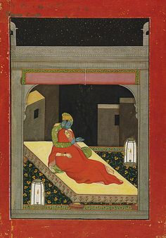 KRISHNA AND RADHA ENJOY A WINTER'S EVENING ON THE ROOF TERRACE IN THE MONTH OF MARGASHIRSHA (NOVEMBER–DECEMBER): FOLIO FROM A BARAMASA SERIES  CA. 1780  GULER, HIMACHAL PRADESH, INDIA  OPAQUE WATERCOLOR, GOLD AND SILVER-COLORED PAINT ON PAPER  MET