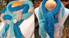 Strik trefarvet flettet tørklæde | Femina