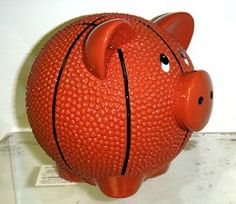 """Basketball Piggy Bank with puffy glaze"""" Pig Bank, Recycling, Paint Your Own Pottery, Mini Pigs, This Little Piggy, Money Box, Pottery Painting, Cute Piggies, Rubber Duck"""