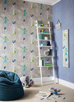 Moster Madness Blue wallpaper - A lively and exciting cityscape full of monsters trying to be scary, but they are just too friendly! Available in two colourways; a cool neutral and bright Multi coloured option, your own little monsters will love this design. Each colourway also co-ordinates perfectly with the Earn Your Stripes design!