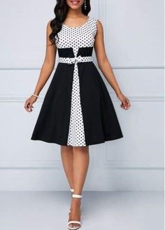 Round Neck Polka Dot Sleeveless Dress Source by - Women Casual Dresses Women's Dresses, Tight Dresses, Dresses Online, Dress Outfits, Fashion Outfits, Elegant Dresses, Dress Fashion, Pretty Dresses, Awesome Dresses