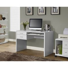 This hollow-core computer desk features a contemporary white finish that looks great in any decor. Two side drawers with sleek chrome hardware provide storage, and the keyboard tray easily slides out.