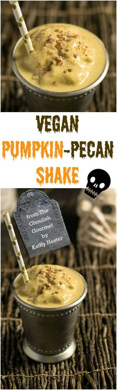 This vegan pumpkin pecan shake from The Ghoulish Gourmet by Kathy Hester will help set a spooky and delicious tone for your Halloween party! The cookbook features budget-friendly Halloween decorating ideas and recipes for apps, soup, mains, dessert and cocktails! #sponsored   pastrychefonline.com