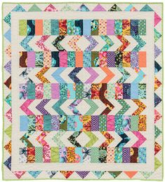 "Fun Jelly-Roll quilt: ""Kaleidoscope"" by Kate Henderson, from the book Strip Savvy."