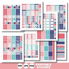 Teal blue and pink printable monthly and weekly planner stickers kit, STI-391