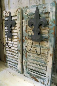 French blue wood shutters fleur de lis hooks by AnitaSperoDesign, $75.00