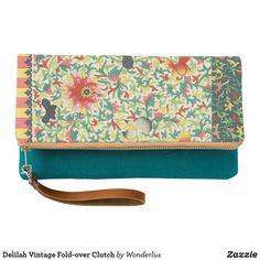 Shop Delilah Vintage Fold-over Clutch created by Wonderlus. Milan Fashion Week Street Style, Spring Street Style, Milan Fashion Weeks, Make It Through, Boho Fashion, Teal, Prints, Leather, Vintage Floral