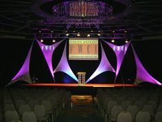 Stretchy spandex sails for concert stage displays. Amazing deals @ Premier Table Linens