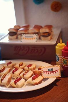 Carnival Birthday Party - like the mini hot dogs, sliders and tots! Circus Carnival Party, Circus Theme Party, Carnival Food, Carnival Birthday Parties, Circus Birthday, Birthday Bash, First Birthday Parties, Birthday Party Themes, Vintage Carnival