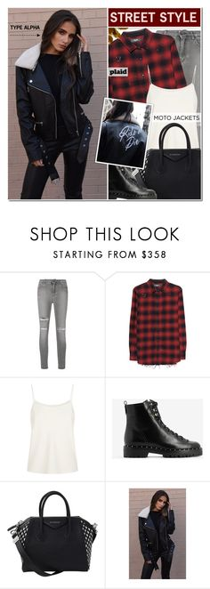 """""""Ride or Die Leather Moto Jacket  & Plaid fashion"""" by typealpha ❤ liked on Polyvore featuring Dolce&Gabbana, AMIRI, The Row, Valentino, Givenchy, Type Alpha, plaid, shirt, totebags and modeloffduty"""
