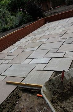 Paving Slab Ideas Cheap Garden Paving Small Patios With . Marshalls Argent Smooth Patio Paving In Leigh Manchester. Home and Family Casa Patio, Backyard Patio, Backyard Landscaping, Back Gardens, Outdoor Gardens, Concrete Patio Designs, Concrete Slab, Sandstone Paving Slabs, Back Garden Design