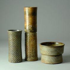 Stig Lindberg for Gustavsberg, group of cylindrical vases - Freeforms Umea, Ceramic Design, Ceramic Art, Earthenware, Stoneware, Art Nouveau, Stig Lindberg, Swedish Style, Royal Copenhagen