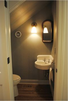 cosy little wc under the stairs downstairs bathroomsmall - Bathroom Designs Under Stairs