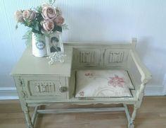 Beautiful vintage upcycled telephone seat / table shabby chic