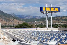 Solar panels line the roof of an Ikea store in Salt Lake City, Utah.