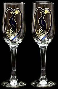 Hand painted glassware, embroidered table linen, favour bags, jewellery and giftware to buy online from Celtic Glass Designs Peacock Design, Champagne Flutes, Glass Design, Table Linens, Celtic, Wine Glass, Hand Painted, Color, Printmaking