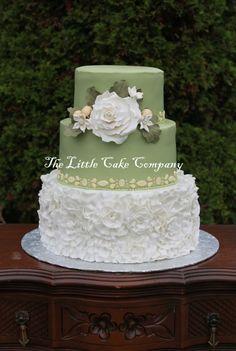 ruffles and roses wedding cake