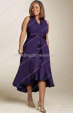 Wholesale Party Dresses - Buy Plus Size Purple Chiffon Sheath Elegant Tea Length Evening Party Dresses Halter Ruffle Mother Gown, $104.16   ...