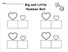 FREE!!! This dice game is a fun way to practice number skills with a valentine theme. Students play alone or in pairs at a math center. Higher and lower numbers are recorded in the corresponding boxes under the larger and smaller hearts. Can be copied back to back.