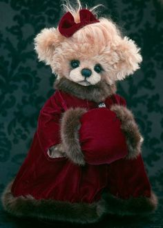 517cbe3818d Anouska who is a sweet 16 inch bear who I dressed in a deep red