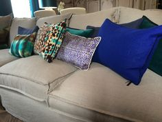 Spring collection 2015, cushions from Elitis. Silk, printed cotton and creamy velvet @ Spring event Loggere Wilpower. www.fa-interiors.nl