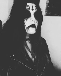 Corpse paint leather jacket spiked choker ready to visit grandma.  Also its same lady as previously posted here.  from:luk.abruptum At:http://ift.tt/1V4GEqx