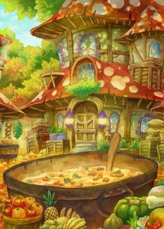 Autumn or harvest themed toadstool house with vegetable soup 埋め込み画像への固定リンク Fantasy Art Landscapes, Fantasy Landscape, Landscape Art, Fantasy City, Fantasy World, Arte Indie, Environment Concept Art, Environmental Art, Fairy Art