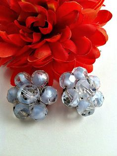 Vintage Clip Earrings  Pale Blue Glass Bead by ConstantlyAlice, $10.00