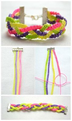 Pin by Colleen Mabee McLaughlin on Jewelry Nut Bracelet, Bracelet Knots, Bracelet Crafts, Jewelry Crafts, Strand Bracelet, Yarn Bracelets, Embroidery Bracelets, Handmade Bracelets, Friendship Bracelet Patterns